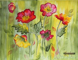 Wild Roses - Waterstrokes Painting