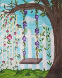 Swing on Tree, Big Canvas Painting