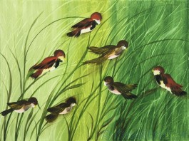 Swallows in reeds - Canvas Painting