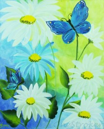 High Def Painting - Daisies and Butterflies
