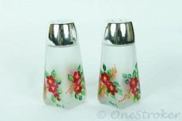 Etched   painted glass salt   pepper shakers