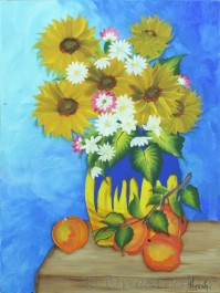 Sunflower vase painting on canvas