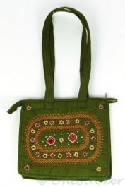 Green Bag with Embroidery and Mirrors
