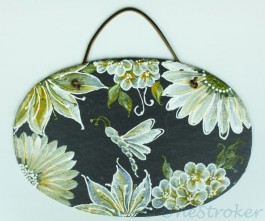 Flowers Painting on High Def on Oval Slate