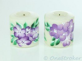 One stroke painting on a Candle Set