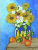 Sunflower vase painting on canvas