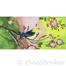 Dogwood with warbler bird on canvas